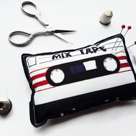 Cassette tape pin cushion,Canvas Pin cushion,seamstress, tailor, crafter