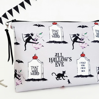 Halloween gifts,Wash bag,all hallows eve fabric, travel bag, cosmetic bag.