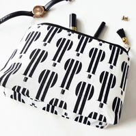 Gifts for her, Canvas Wash bag, Monochrome, cosmetic bag, zip bag, make up bag.