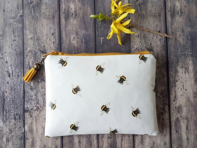 Bumble Bee wallet,vegan leather wallet,entomology print,bees,insects
