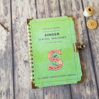 A6 Notebook Singer sewing with matching bulldog clasp.