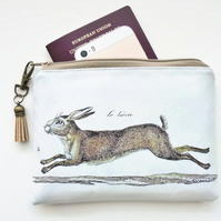 Le Lievre,hare wallet,eco friendly gifts,beige,rabbit,wildlife,eco gift,vegan