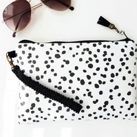wristlet clutch,travel bag with credit card pockets in Dalmatian print.