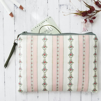 Sage and Blush Flora Stripe Vegan Wallet.