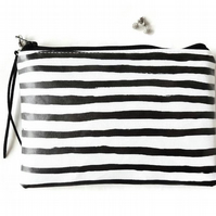 Black and white stripe print clutch, purse, wallet,vegan vinyl zipper wallet