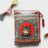 vegan faux leather cat purse,cat print zipper wallet,vegan gift ideas