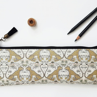 Pencil case, cheetah print, animal friendly, vegan bag, animal print, pencil bag