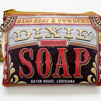 Vintage soap bar label vegan wallet.