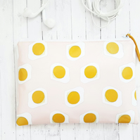 Gummy fried egg, yellow and blush vegan wallet.