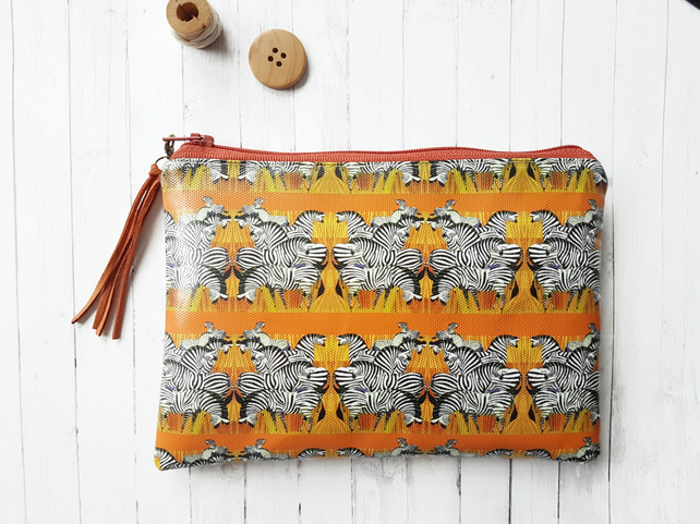 Sunset Zebras print, horse lover wallet, vegan purses.