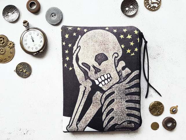 Skeleton, Halloween pouch, zipper wallet, cometic bag, zipper wallet