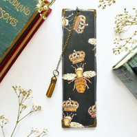 Vegan bookmarks, faux leather gold bee print,book lover gift ideas,bookworm