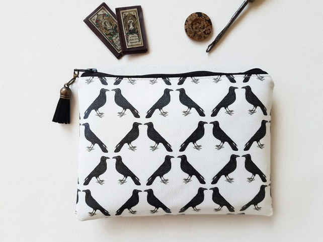 Crow print vegan wallet