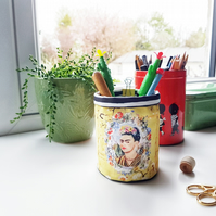 Frida Khalo pencil caddy,Brush caddy,wall grid storage,yellow storage caddy.