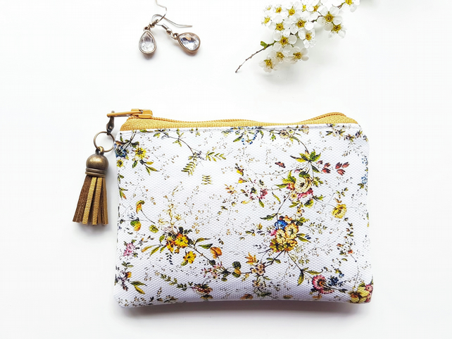 Business card credit pouch, business card Wallet ,Ditsy floral
