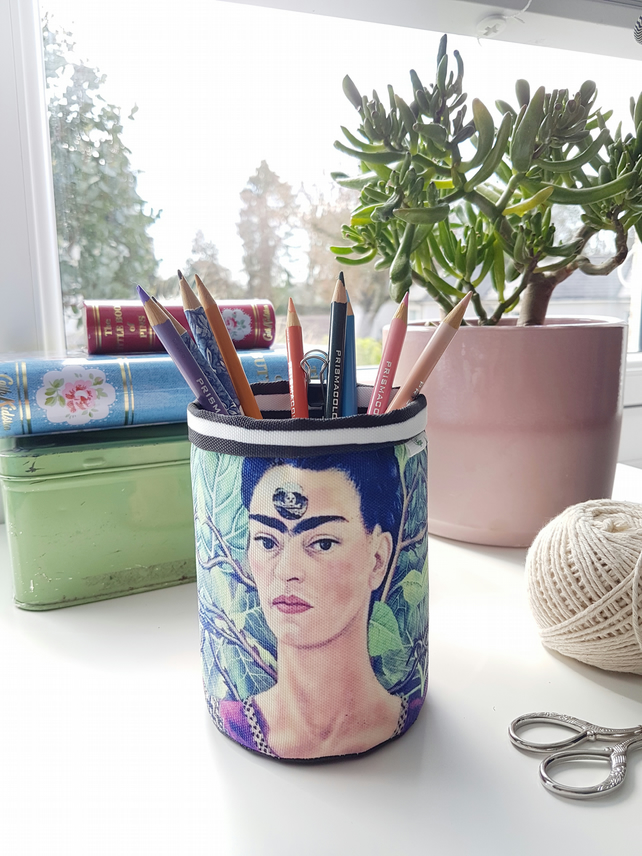 Frida Khalo pencil caddy,Brush caddy,wall grid storage,floral storage caddy.