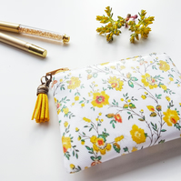 1940s style vegan leather small Ditsy floral yellow wallet, coin purse.