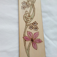 Floral Pyrogrophy Wooden Bookmark