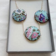 Blue Floral Fabric Covered Button Triple Pendant