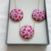 Pink Floral Fabric Covered Button Triple Pendant