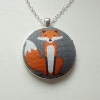 38mm fox fabric covered button pendant