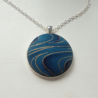 38mm Gold and Blue wave pattern pendant
