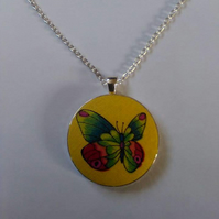 38mm Butterfly Fabric Covered Button Pendant