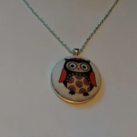 38mm Brown Owl Fabric Covered Button Pendant