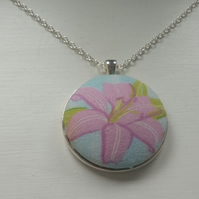 38mm Lily Flower Fabric Covered Button Pendant