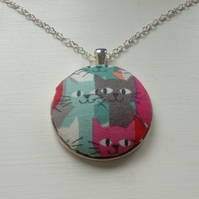 38mm Multicoloured Cat Fabric Covered Button Pendant