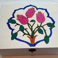 Storage Keepsake Box with Floral Pyrography Design