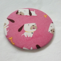 Cartoon Dog Fabric Backed Pocket Mirror