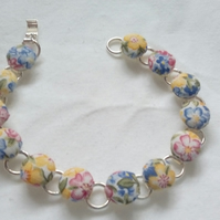 Floral Fabric Covered Button Bracelet