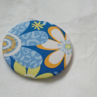 Blue Floral Fabric Backed Pocket Mirror