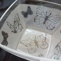 Butterfly Frosted Glass Trinket Dish