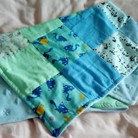 Blue Animal Patchwork Baby Blanket