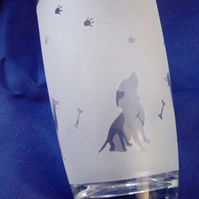 Frosted Drinking Glass with Dog Design