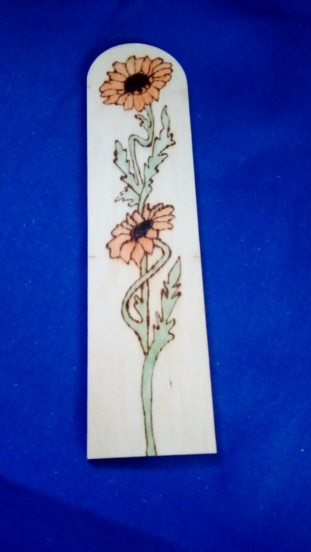 Floral Pyrography Wooden Bookmark