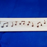 Music Notes Pyrography Wooden Bookmark