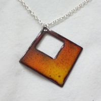 Fire Inspired Diamond Enamel Pendant