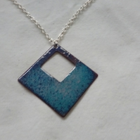 Shades of Blue Diamond Shaped Enamel Pendant