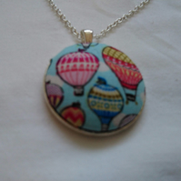 38mm Hot Air Balloon Fabric Covered Button Pendant