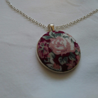 38mm Pink Floral Fabric Covered Button Pendant