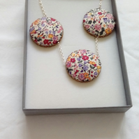 Floral Fabric Covered Button Triple Pendant