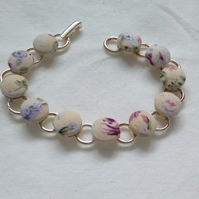 Cream Floral Design Fabric Covered Button Bracelet