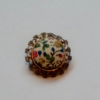 Floral Fabric Covered Button Brooch