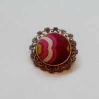 Pink Patterned Fabric Covered Button Brooch