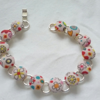 Random Patterned Fabric Covered Button Bracelet