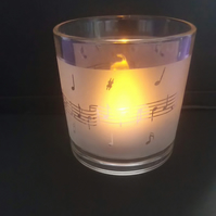 Music Design Frosted Glass Tealight Holder