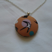 38mm Flying Birds Fabric Covered Button Pendant